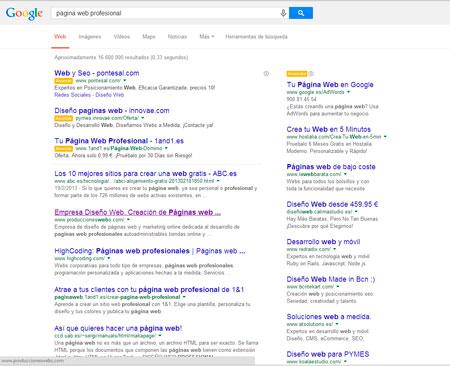 """posicionamiento natural de keyword """"pagina web profesinal"""" el 24/04/2014"""